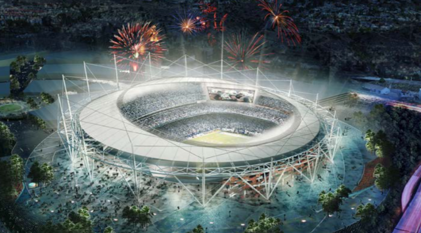 Hold the fireworks: A new San Diego stadium for the NFL Chargers, shown in this architect's rendering, may not happen.