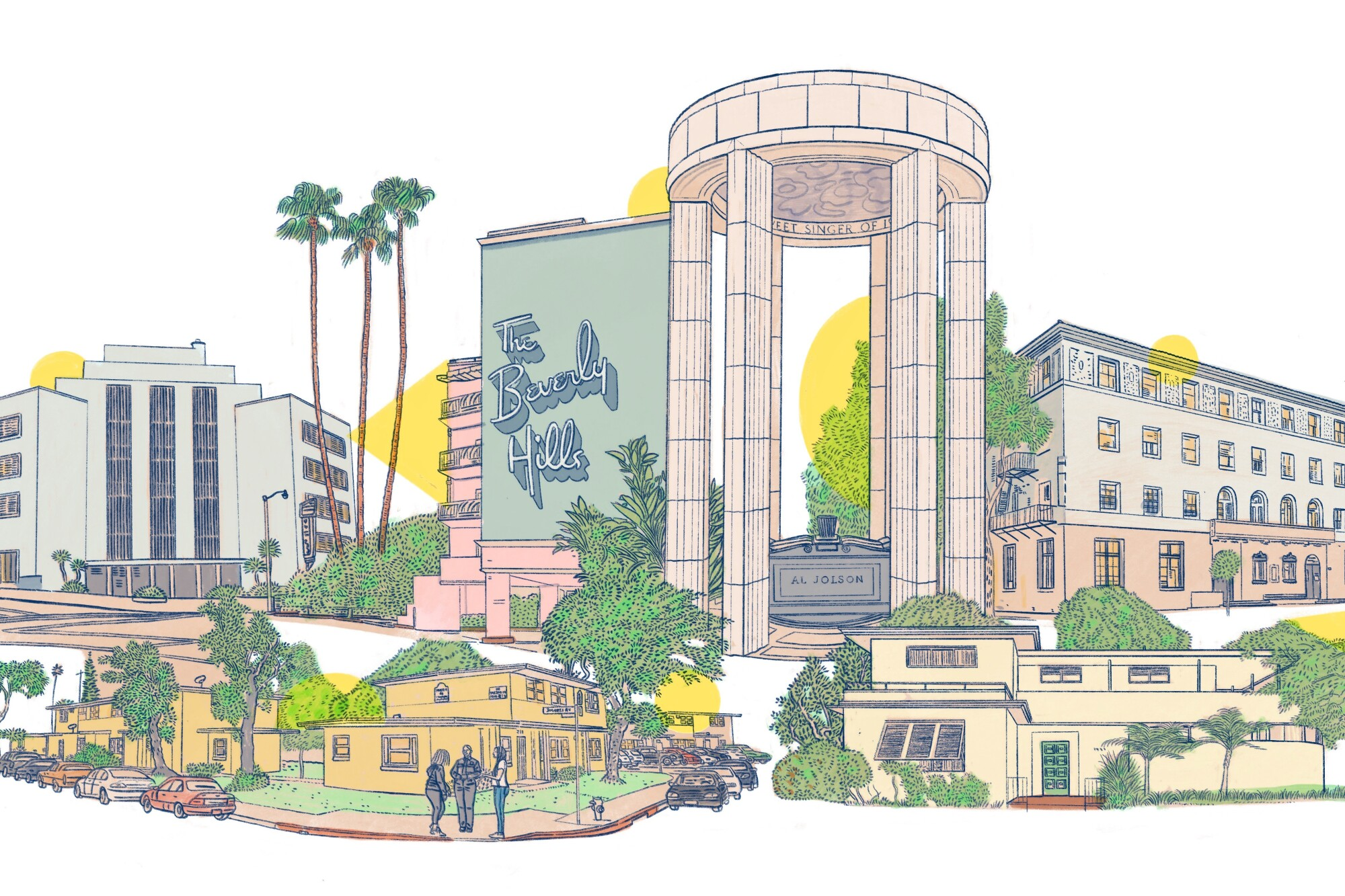 An illustration shows architect Paul Williams before the Hollywood Hills and the façade of the Beverly Hills Hotel.