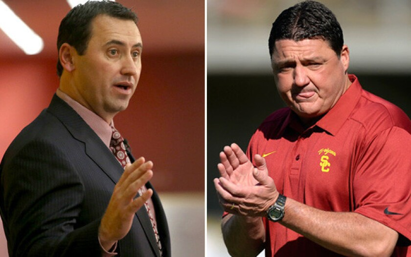 College football coaches Steve Sarkisian and Ed Oregron were final candidates to replace Lane Kiffin at USC. They also have the same agent.