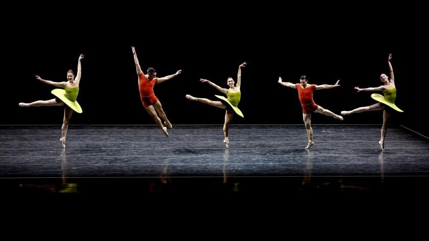 "Pacific Northwest Ballet's Carrie Imler, left, Jonathan Porretta, Leta Biasucci, Benjamin Griffiths and Margaret Mullin perform ""The Vertiginous Thrill of Exactitude."""