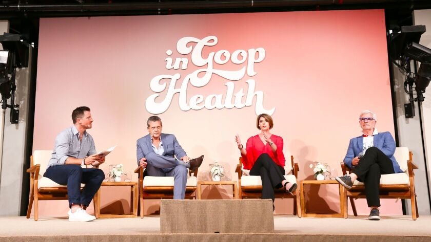 Chef Seamus Mullen, left, Dr. Alejandro Junger, Dr. Amy Meyers and Dr. Steven Gundry on the Gut Chec