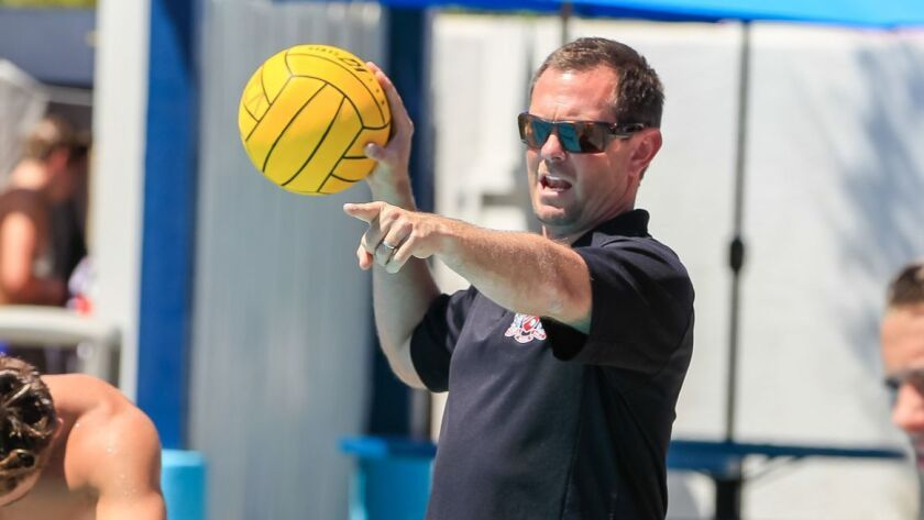 SAN DIEGO, CA Aug. 25th, 2016 | Vista water polo coach Dave Spence works out with his team at The W