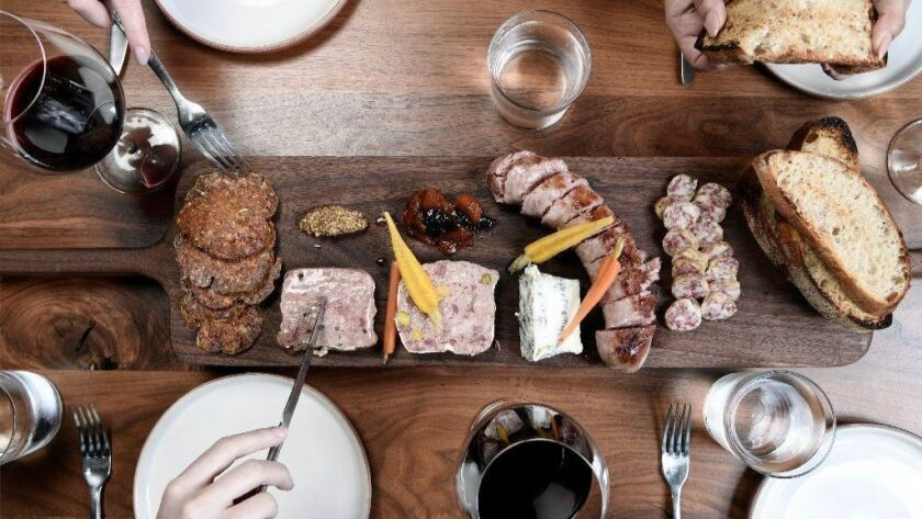 A spread of charcuterie is an ideal way to start a meal at Tesse.