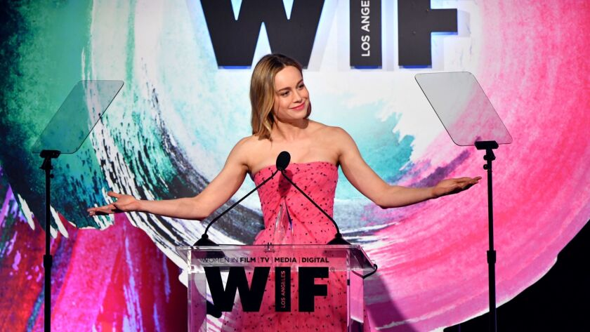Honoree Brie Larson accepts the Crystal Award for Excellence in Film onstage during Women In Film's Crystal + Lucy Awards at the Beverly Hilton Hotel in Beverly Hills on June 13.