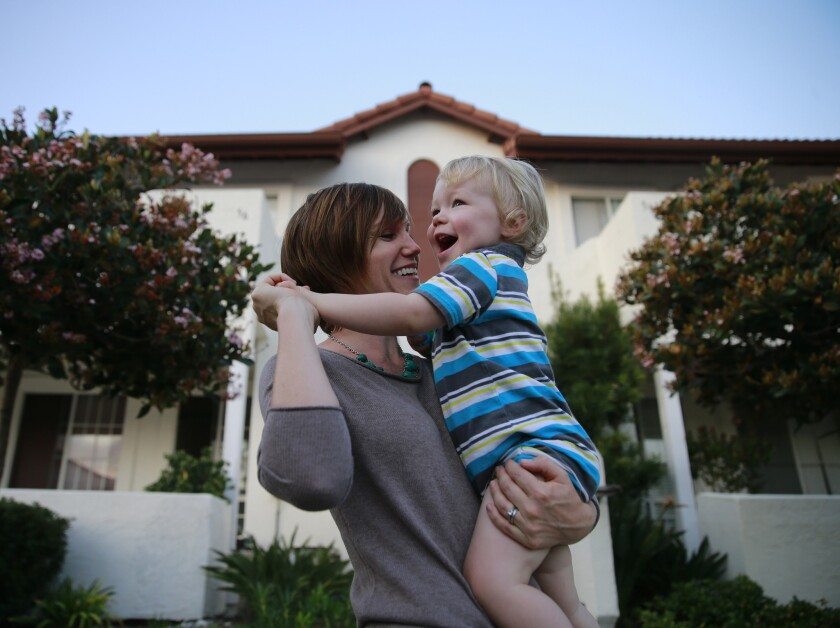 Tori Rivapalacio and her 20-month-old son, Diego, at their San Diego home.
