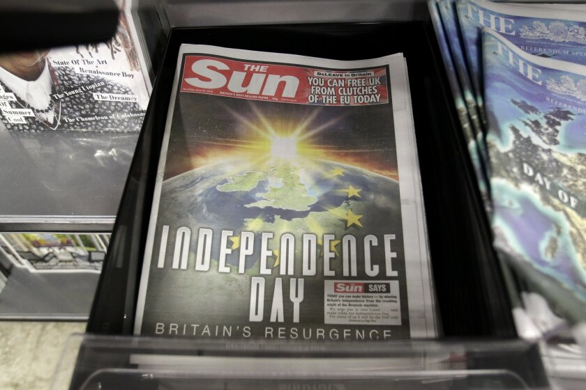 The front page of the Sun newspaper reporting on the EU referendum on a news stand in Westminster, London, Thursday, June 23, 2016.Voters in the United Kingdom are taking part in a referendum that will decide whether Britain remains part of the European Union or leaves the 28-nation bloc. (AP Photo