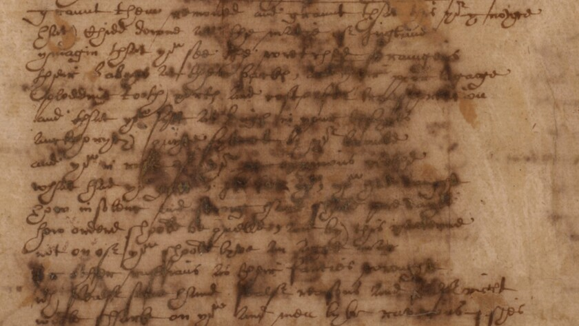 """Grant them removed..."": A page from the manuscript of Sir Thomas More's defense of refugees, in Shakespeare's own hand circa 1600, now in the British Museum."