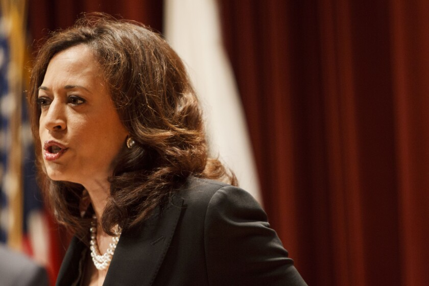 California Atty. Gen. Kamala Harris speaks at a news conference in Los Angeles.