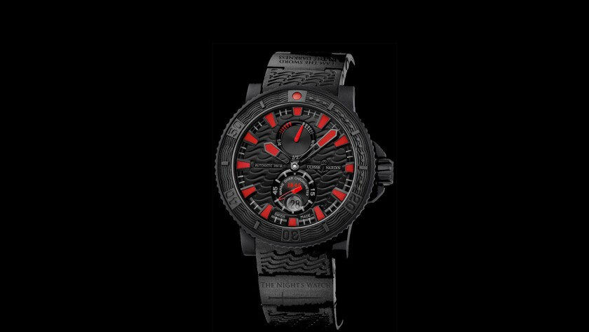The Night's Watch by Ulysse Nardin. The watch is a collaboration piece with the HBO show Game of Th