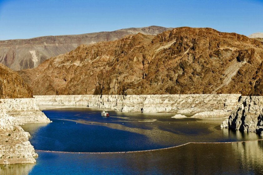 """Dropping water levels have exposed a """"bath tub ring"""" at Lake Mead in Nevada, shown in October 2015."""