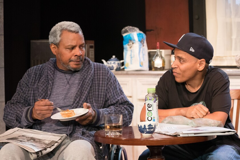 "Montae Russell, left, and Victor Anthony in ""Between Riverside and Crazy."""