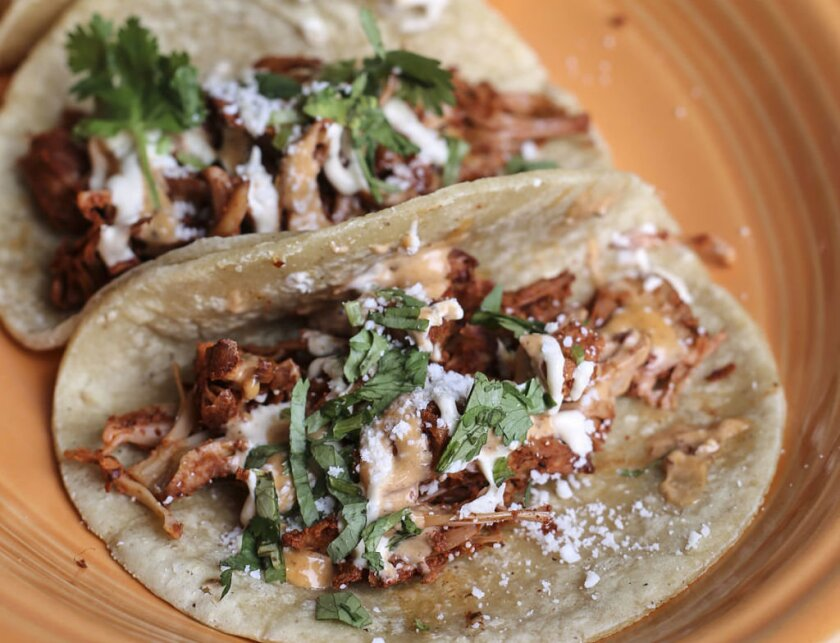 Try the Jackfruit Tacos from Del Sur Mexican Cantina for a great meatless meal.