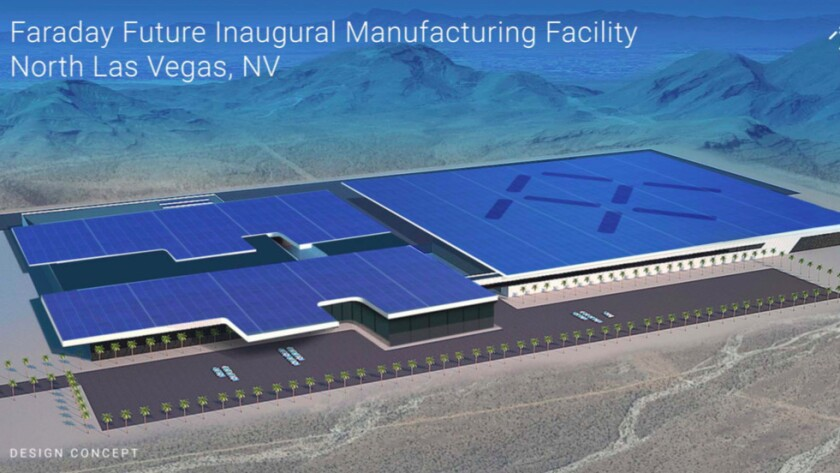 If built, Faraday Future's Nevada factory is expected to cost $1 billion over 10 years. Above, a design concept for the plant.
