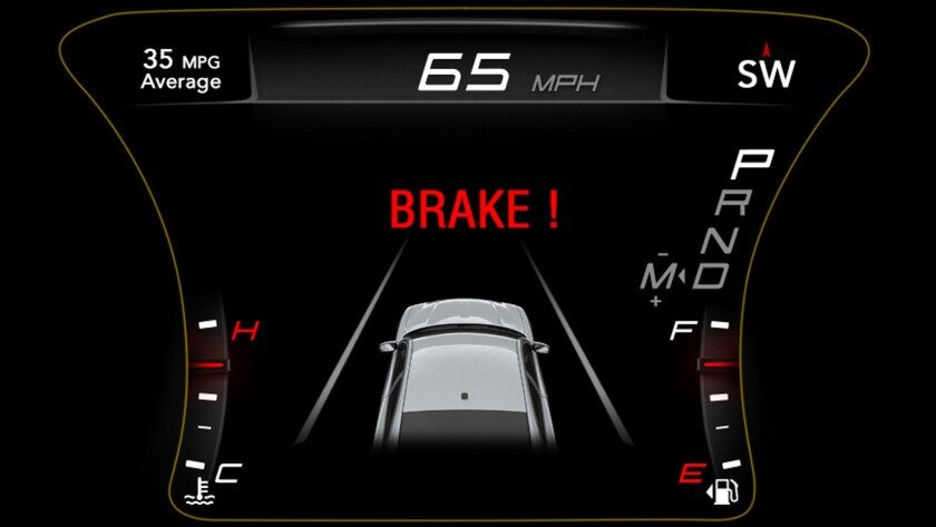 Fiat Chrysler's automatic emergency braking system delivers an alert.