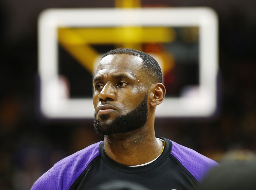 LeBron James, shown at a Sept. 30, 2018, preseason game against Denver in San Diego, stirred controversy with criticisms about an NBA executive's comments supporting Hong Kong.