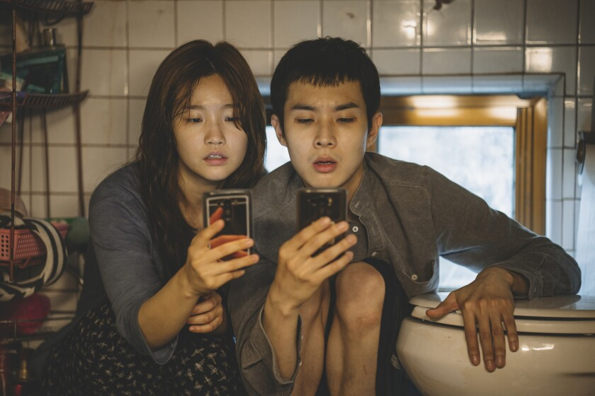 So-dam Park and Woo-sik Choi and  in 'Parasite'