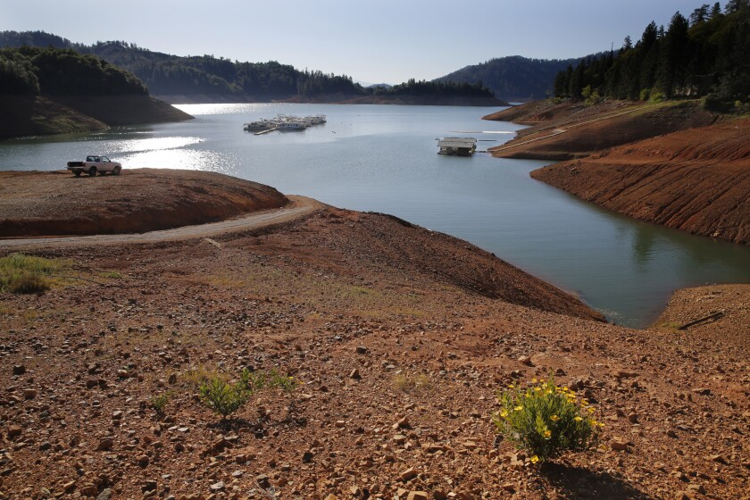 Shasta Lake reservoir, on the Sacramento River in California, after four years of drought. (Don Bartletti / Los Angeles Times)