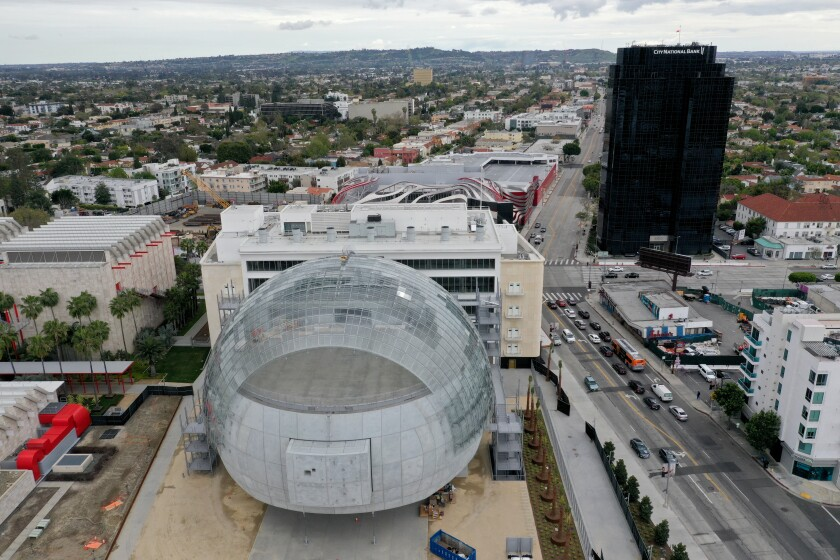 An aerial view of the Academy Museum of Motion Pictures, under construction in March 2020