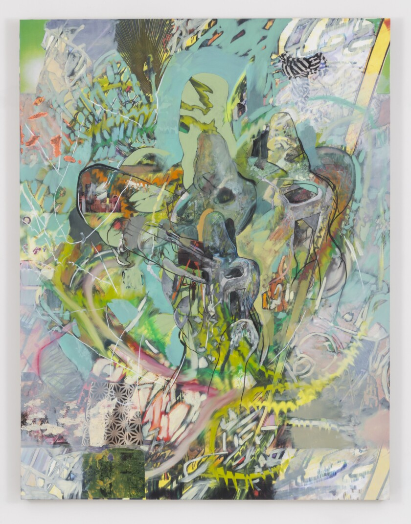 """Elliott Hundley, """"It will end."""" (2014), inkjet print, oil and paint and paper on linen, 78 inches by 60 inches by 2 inches"""