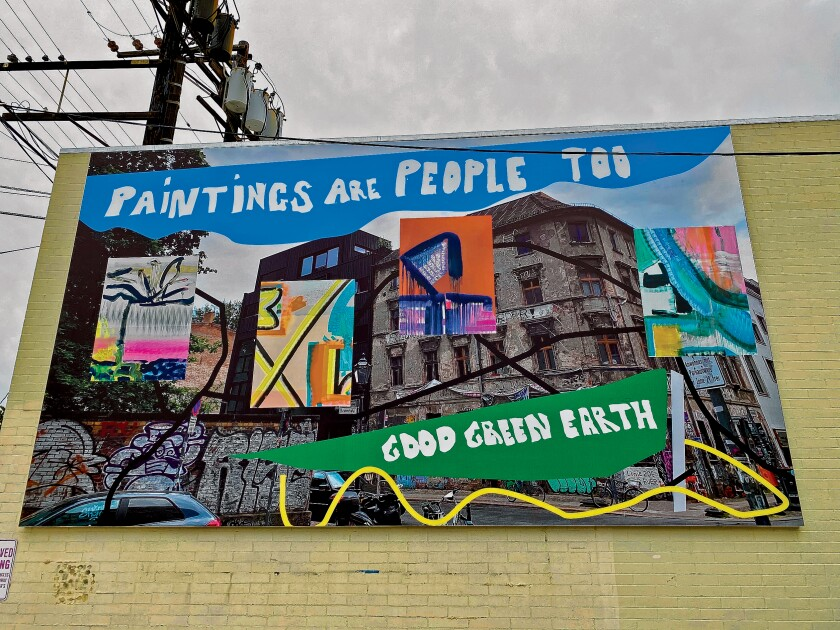 'Paintings are People Too' by Monique van Genderen was installed in January 2020 at 7661 Girard Ave. in La Jolla, as part of the ongoing 'Murals of La Jolla public-art series.