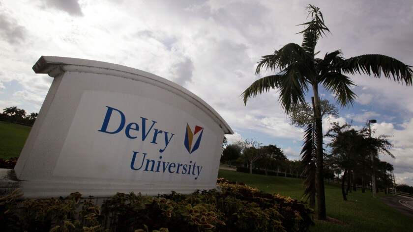 DeVry University -- a Florida campus is seen above -- reported a 23% drop in enrollment this year.