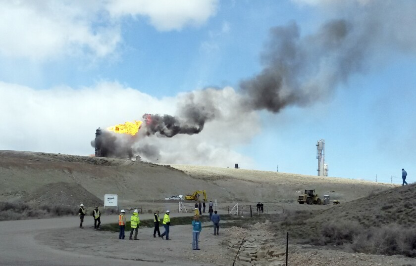 A fire burns after an explosion at a Williams Cos. natural-gas plant near Opal, Wyo.