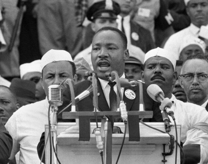 "Dr. Martin Luther King Jr. addresses civil rights marchers during his ""I Have a Dream"" speech at the Lincoln Memorial in Washington."