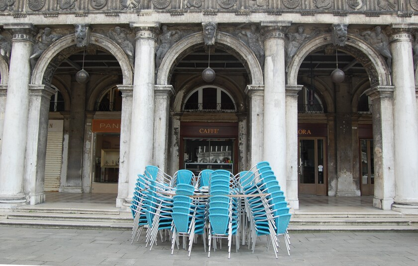 Cafes in Venice's Piazza San Marco remained closed May 18, 2020, even though they were allowed to reopen as Italian authorities eased coronavirus lockdown restrictions.