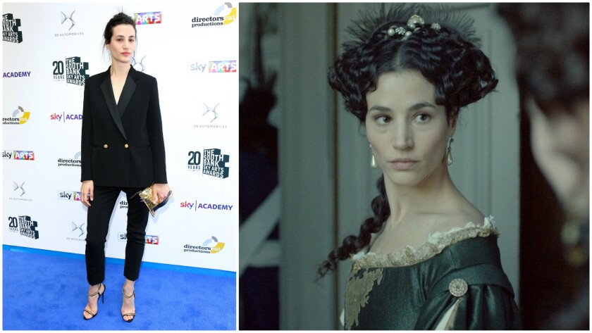 "Elisa Lasowski appears at the 2016 South Bank Sky Arts Awards in London and in a scene from ""Versailles."""