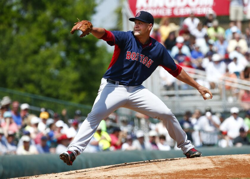 Boston Red Sox starting pitcher Brian Johnson (78) works in the first inning of an exhibition spring training baseball game against the Miami Marlins Tuesday, March 24, 2015, in Jupiter, Fla. (AP Photo/John Bazemore)