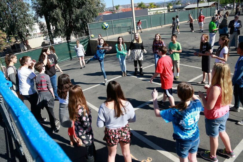 SAN DIEGO, CA-FEBRUARY 25, 2016: Children play at Classical Academy's middle school campus in Escondido. (Misael Virgen / San Diego Union-Tribune)
