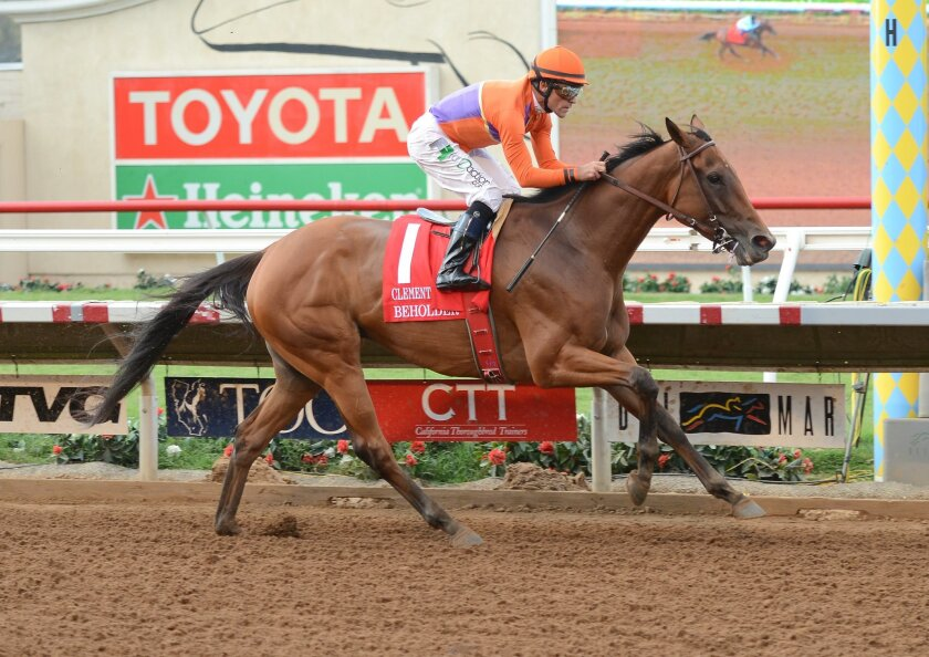 Beholder, with Gary Stevens aboard, outdistanced the field by seven lengths in the Grade I, $300,000 Clement L. Hirsch Stakes on Saturday. Photo by Kelley Carlson