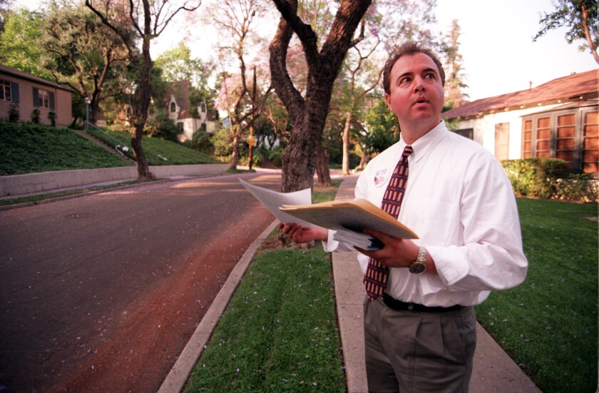Adam Schiff campaigns in South Pasadena in 1996 during his successful run for California state Senate.