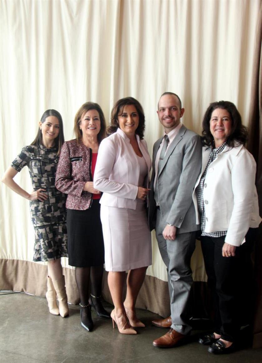 The president of staffing and consulting firm ETC, Irma Diaz-Gonzalez (2nd from L), poses with Bank of America Small Business Division executive Elizabeth Romero; dentist and small business owner Giancarlo Aymerich; and restaurateur Tracy Vaught during a gathering of business leaders in Houston on Monday, March 4. EFE-EPA/Ana Maria Alarcon