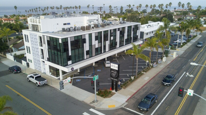 Aerial drone view of the Collins luxury apartment complex on La Jolla Blvd. on Tuesday, January 14, 2020.