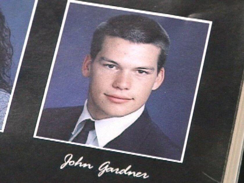 A yearbook photo of murder suspect John Albert Gardner III.