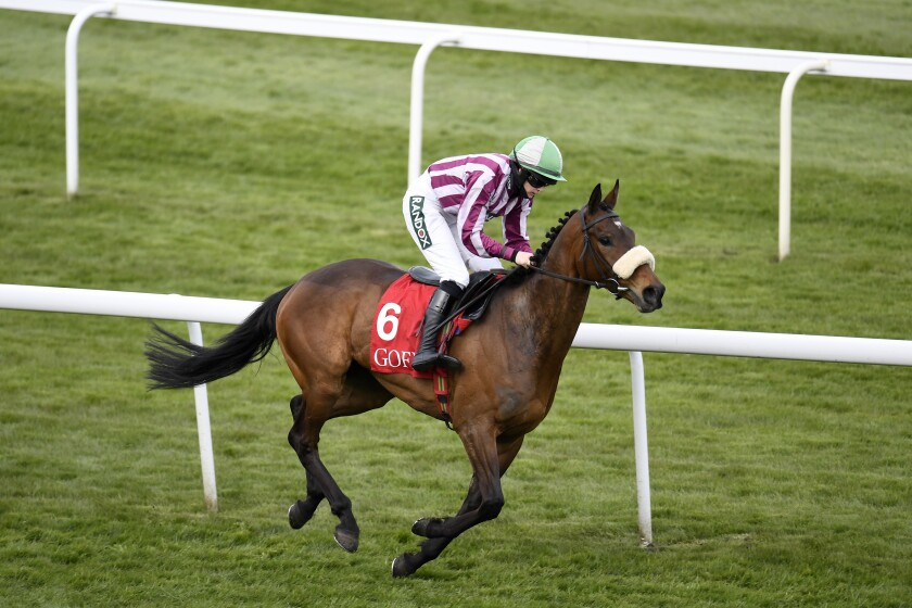 Me Too Please ridden by Rachael Blackmore races to win the Goffs UK Nickel Coin Mares' Standard Open NH Flat on the first day of the Grand National Horse Racing meeting at Aintree racecourse, near Liverpool, England, Thursday April 8, 2021. (Peter Powell/Pool via AP)