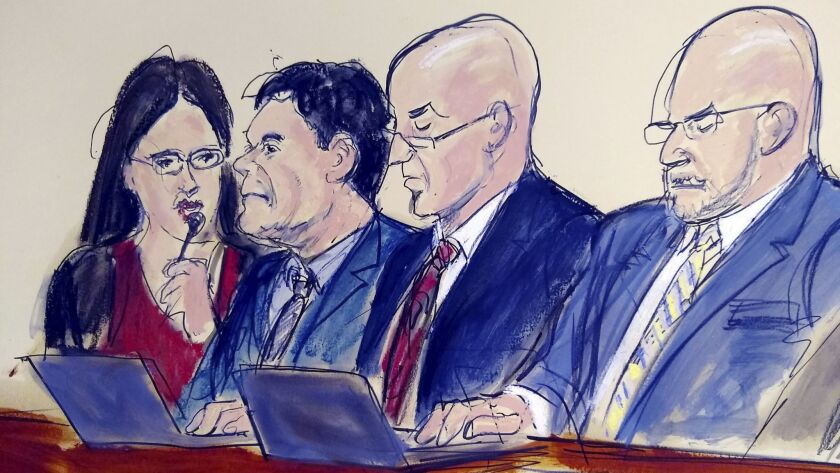 "In this courtroom drawing, Joaquin ""El Chapo"" Guzman, second from left, stares at the jury as the judge reads the verdict in his drug trafficking trail on Tuesday in Brooklyn. With him are an interpreter, left, and defense attorneys Eduardo Balarezo, right, and William Purpura."
