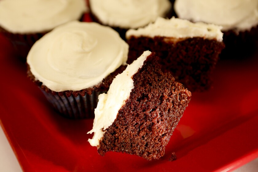 The red velvet cupcakes at the Hotel del Coronado are made even more moist when they squeeze in a little simple syrup. Recipe: Hotel del Coronado's red velvet cupcakes