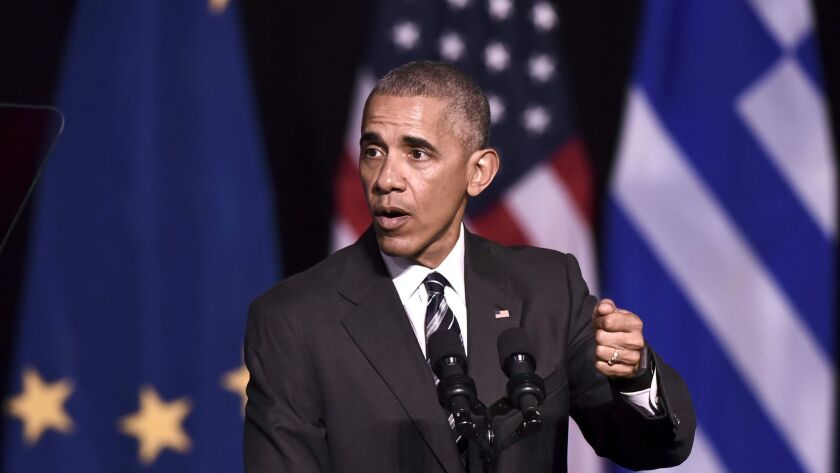 President Obama spoke Wednesday in Athens about the global uncertainties that led to the rise of Donald Trump and other recently elected world leaders.