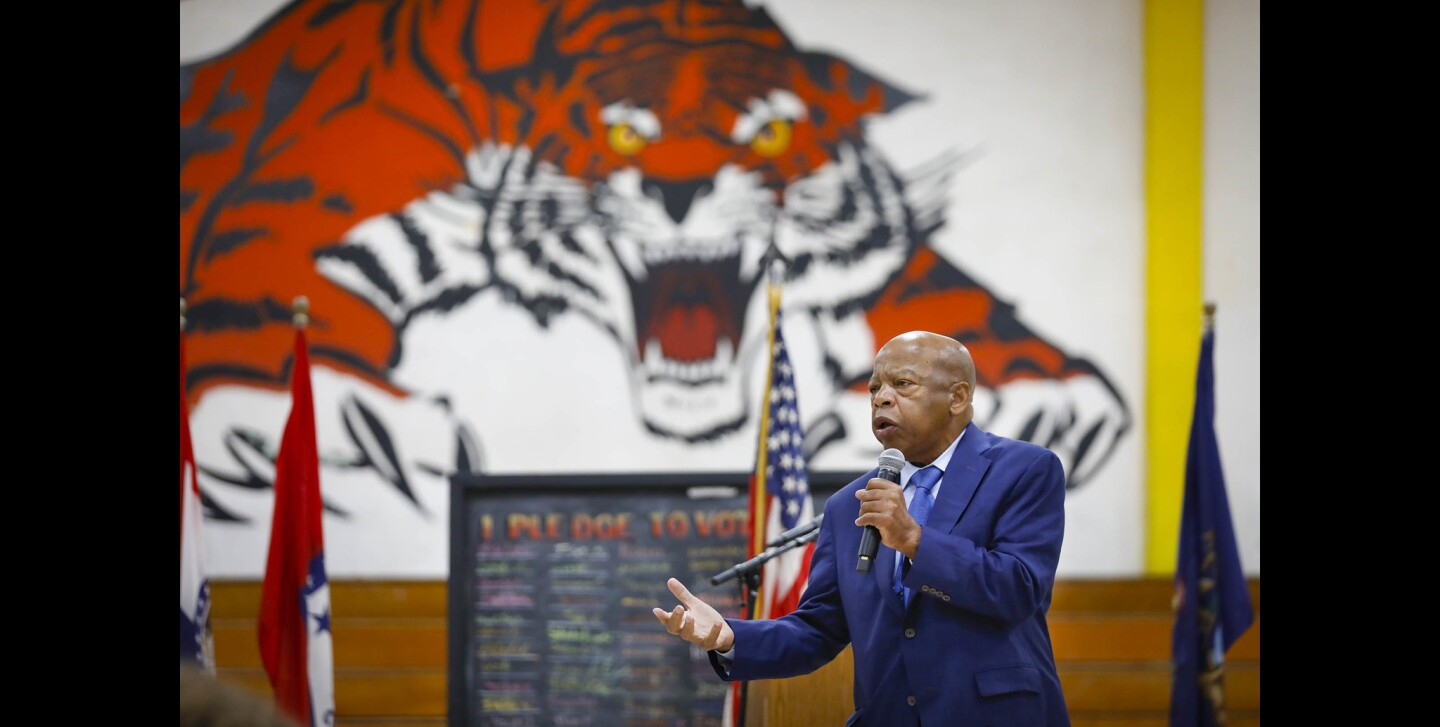 Congressman and civil rights movement icon John Lewis, the co-author of MARCH, the comic book graphic novel trilogy about his struggles for civil rights, visited Morse High School and discussed his experiences, urging the students, who all have read MARCH: Book One, to be part of civic engagement.