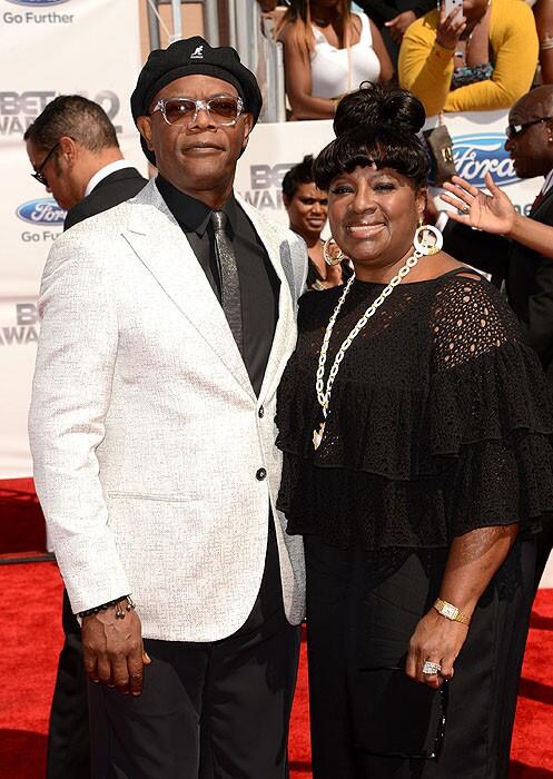 Samuel L. Jackson, host of the 2012 BET Awards, and Latanya Richardson arrive at the 2012 BET Awards at The Shrine Auditorium.