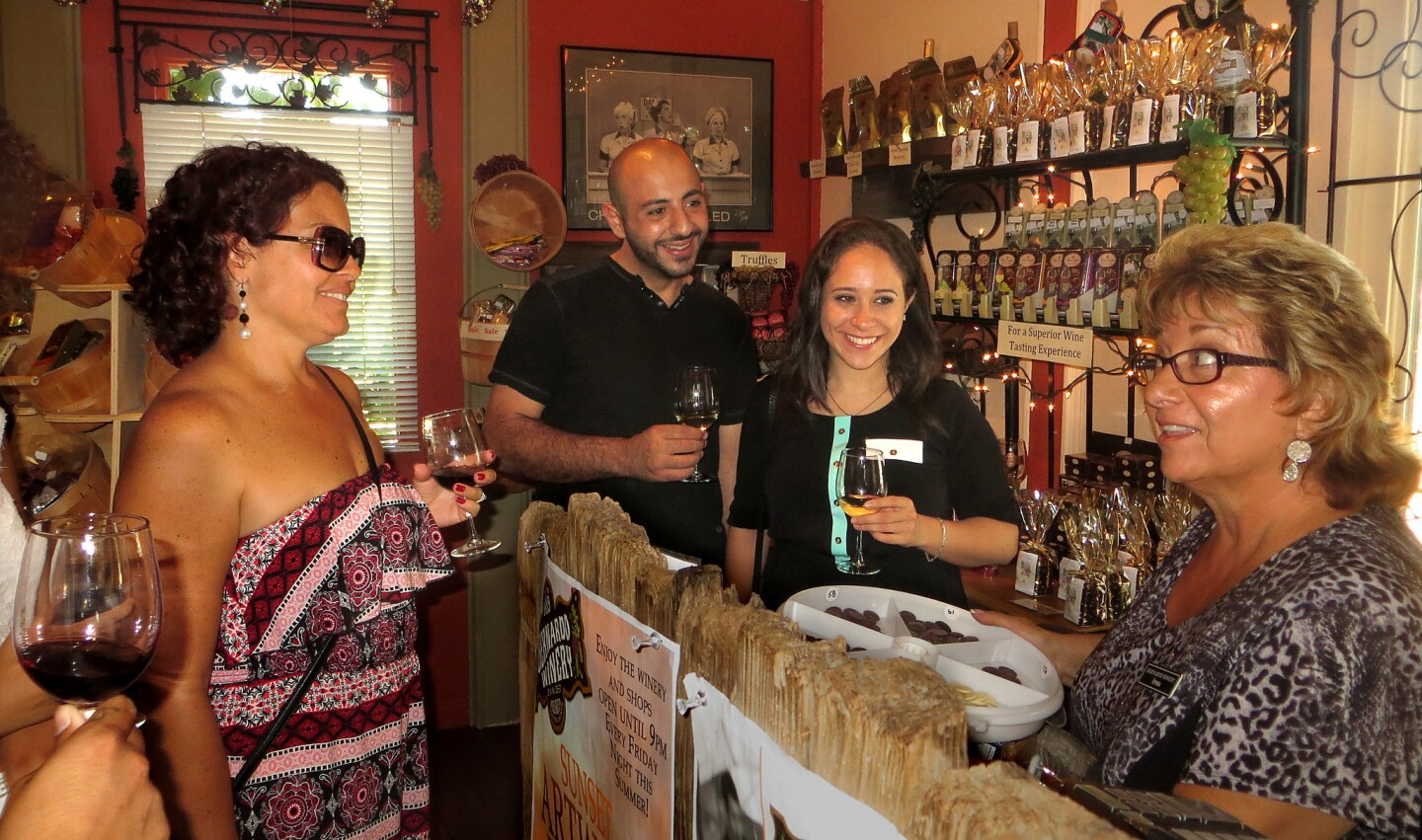 Lining up for free chocolate tastes at the Sweet Shoppe at Bernardo Winery in San Diego.