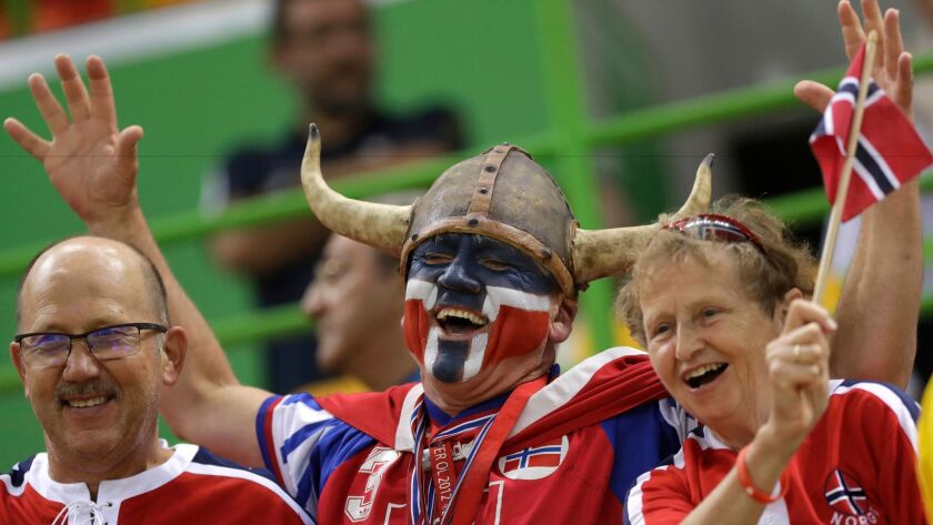 Count Norwegian handball fans among the happiest in the world.