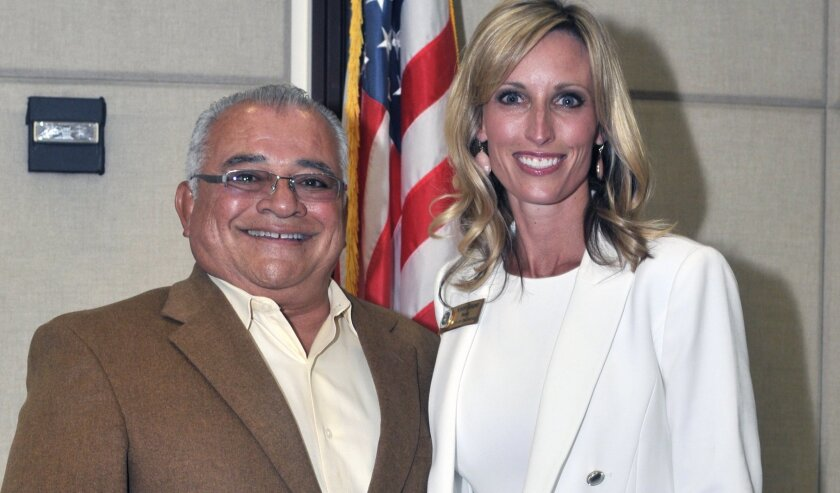 Encinitas Mayor Gaspar poses with Rocky Chavez, who represents the 76th Assembly District, during the State of the City March 22 at the Encinitas Community Center.