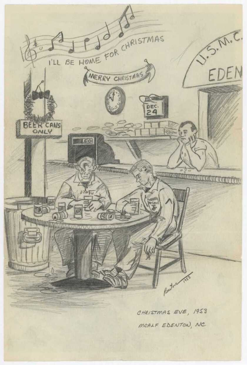 """Drawing by Marine Capt. Ron Burton of two young Marines on Christmas Eve, 1953, drinking beer at an enlisted club decorated for the holidays. In the background a radio is playing, """"I'll be Home for Christmas."""" Photo courtesy of the Camp Pendleton Historical Society."""