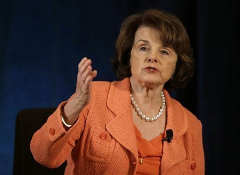 FILE - In this April 3, 2013 file photo, Sen. Dianne Feinstein, D-Calif. speaks in San Francisco. A tentative deal has been reached to resolve a dispute between agriculture workers and growers that was standing in the way of a sweeping immigration overhaul bill, Feinstein said Tuesday. Feinstein, who's taken the lead on negotiating a resolution, didn't provide details, and said that growers had yet to sign off on the agreement. The farm workers union has been at odds with the agriculture industr
