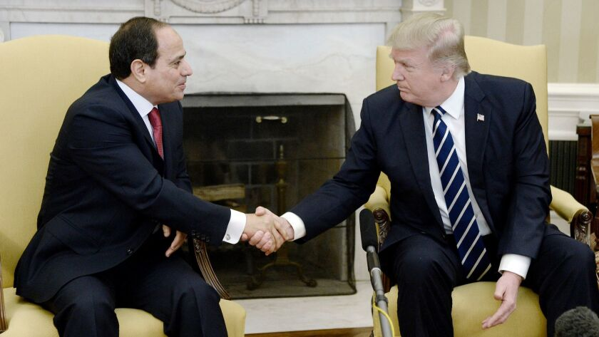 President Trump meets with President Abdel Fattah al-Sisi of Egypt at the White House on April 3.