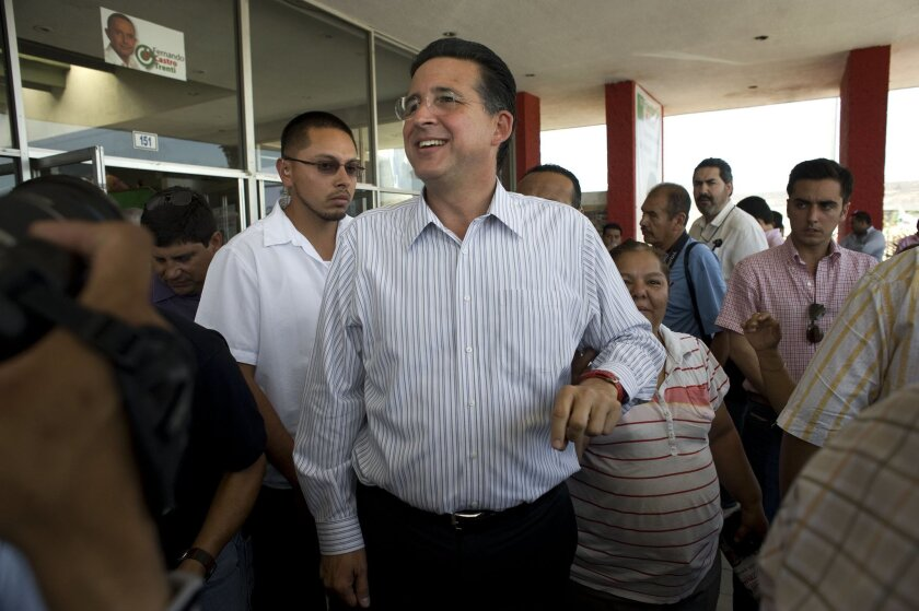 Jorge Astiazarán Orcí at the PRI headquarters in Tijuana last week following his apparent mayoral victory in the July 7 election.