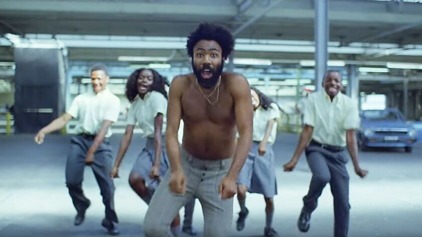 "A frame grab of Donald Glover as Childish Gambino in the video for ""This Is America."""